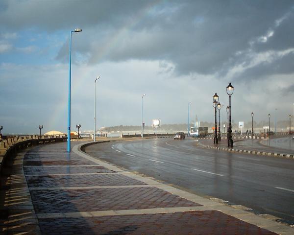upršané nebo a neposlušné more v zimnej Alexandrii