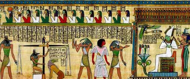 Súdenie duše. Zľava stojaci Anúbis, kľačiaci Anúbis, váhy s dušou a pierkom, netvor Amemat požierajúca zlých, Thovt,mŕtvy Egypťan,opäť Thovt,Usire, Izis, Neftys