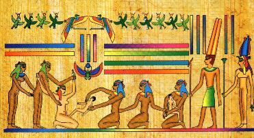 papyrus zachycuje pôrod egypťanky (tie rodili v sede)